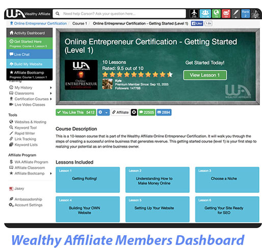 Wealthy Affiliate Members Area